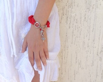 Red Luck Evil Eye Bracelet-Turkish Silk Bracelet-Silver Plated Bracelet-Traditional Bracelet