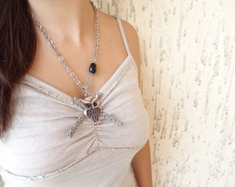 Owl Necklace, Silver Owl Necklace