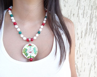 White Jade,Red Coral, Malachite Necklace, Enamel Pendant Feminine Chiristmas Gifts