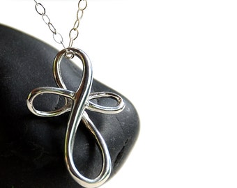 All Sterling Infinity Cross Necklace, Sterling jewelry