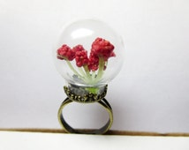 Christmas Tree,Miniature Christmas Tree Glass  ring mini terrarium ring Snow Globe Jewelry Red Flower Miniature Glass  ring
