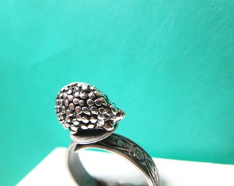 sale Hedgehog  Ring- tiny Siver jewelry-Adjustable size Ring - porcupine  woodland jewelry