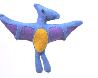 Felt Plushie Hand sewing Pattern PDF. Complete instructions to make Terry the Pterodactyl Dinosaur. Instant download.