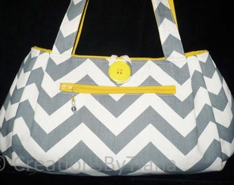 Chevron - Gray Bag - Purse - Yellow - Handmade - Shoulder Bag - Handbag