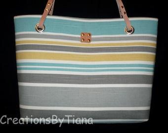 Gray/Turquoise Stripes - Canvas Bag - Purse - Nautical - Shoulder Bag w leather handles - Handmade - Handbag