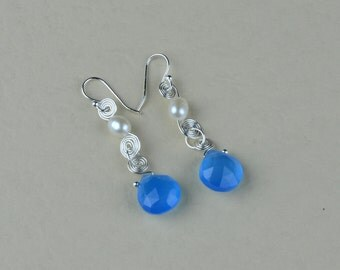 Blue Chalcedony gemstone Earrings. Blue Chalcedony and White Lotus fresh water cultured Pearl Earrings. (E0006)