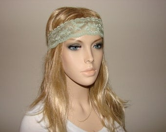Green Sage stretchy wide lace headband, bohemian Headband, boho elastic flower lace headband Teen Adult