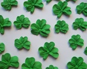 Green royal icing shamrocks --- St. Patrick's Day cake decorations cupcake toppers (24 pieces)