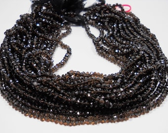 Smokey Quartz Hand Faceted Rondelle Beads 3mm - 4mm