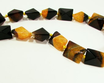 Orange / Yellow Ice Agate Faceted Rectangle Beads Whole Strand 15mm - 16mm