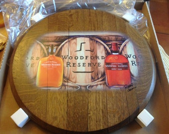 Woodford Bourbon Whiskey Recycled Barrel Head Print; Kentucky distillery, man cave art, hostess wedding gift, wall gallery decor, barware