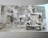 1930's? Loading Log Ice House frm Antique International Truck, Hand Tinted Photo Photograph