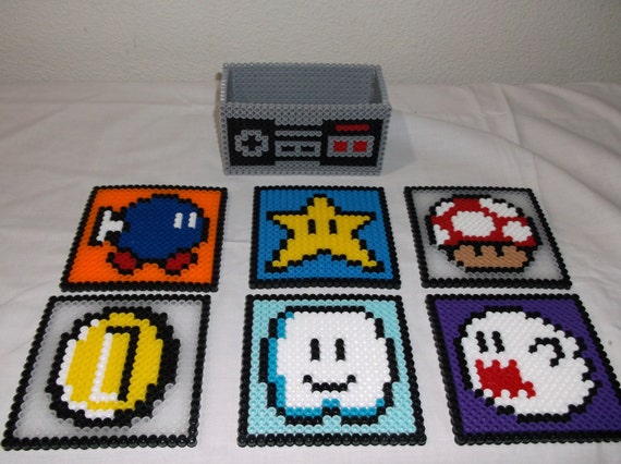 Nintendo Super Mario Set of 6 Coasters Including Coaster Holder - Handmade Perler Bead Coaster Set