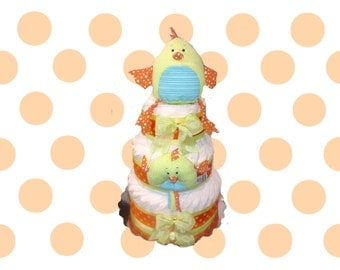 3 Layer - Orange and Yellow Lil' Chick Gender Neutral Baby Shower Diaper Cake Toy Gift Set