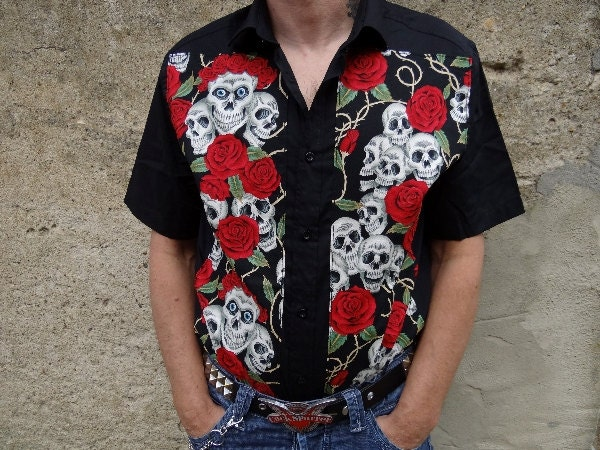 03efddfcc8e98 Work shirt red tartan leopard zebra rockabilly psychobilly tattoo contigo  skull zombie monster goth pin up