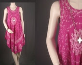 SALE Boho Dress Tie dye Hi low Maxi Caftan pink white Bohemian Hippie Gypsy women size S or M OSFA