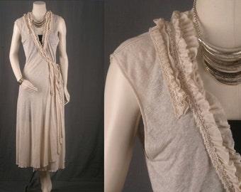 Dress Wrap Dress Cream Duster Coat Kimono Jacket Bohemian gypsy hippie frill women size M medium