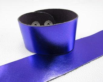"Metallic Purple Leather Cuff Bracelet  1-5/8"" Wide, #50-1005"