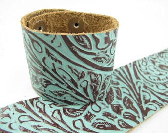 "Tooled Turquoise Brown Leather Cuff Bracelet 2"" Wide, #57-85241614"