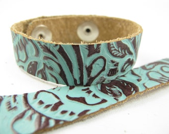 "Tooled Turquoise Brown Leather Cuff Bracelet 5/8"" Wide, #57-85841614"