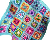 Crochet baby blanket crochet baby afghan handmade granny square baby blanket 36 in. x 42 in., combo 1 colours, seafoam border READY TO SHIP