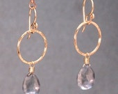Hammered Hoops with Mystic Blue Topaz Victorian 294