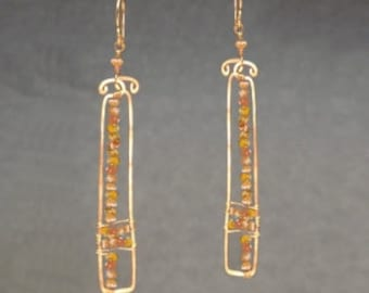 Hammered rectangles with mandarin garnet Bohemian 103
