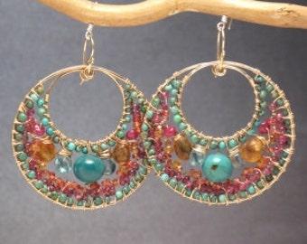 Bohemian 125 Hammered circles with  pink ruby, mandarin garnet, and turquoise