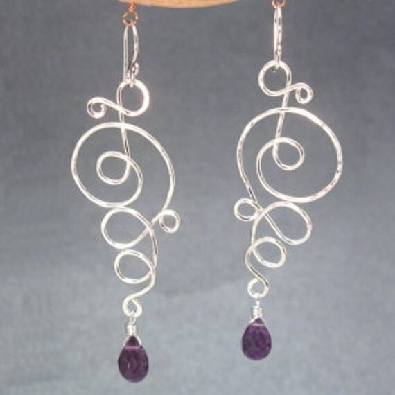 Hammered swirl earrimgs with choice of gemstone Nouveau 180