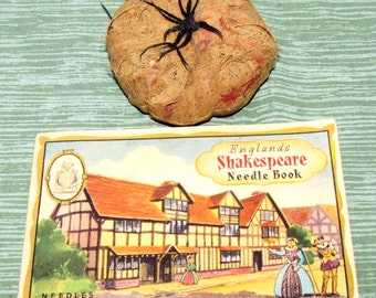 Vintage Pin Cushion and England's Shakespeare Needle Book