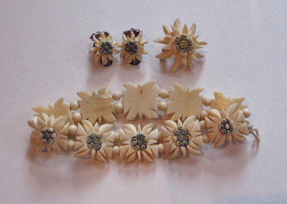 Vintage 1930s Edelweiss Bracelet, Brooch and Earrings Set