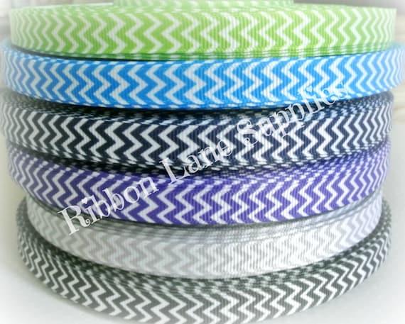 Ribbon By The Yard 3 8 Chevron Grosgrain Green Blue