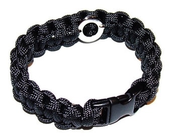 Standard Paracord Survival Bracelet - Black with Hidden Handcuff Key