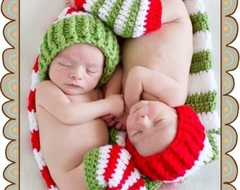 Twin Newborn Crochet Christmas Stocking Hats and Leg Warmers Set