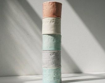 Five Little Porcelain Cups, Soft Orange, White, Aqua and Dove Grey