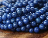 Mountain Jade Beads, Navy Blue, 4mm Round - 15.5 Inch Strand - eMJR-B09-4