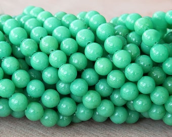 Mountain Jade Beads, Light Green, 6mm Round - 15 Inch Strand - eMJR-G19-6