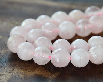 Rose Quartz Beads, 6mm Faceted Round - 15 Inch Strand - eGF-RQ002-6