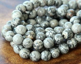 Natural Scenery Jasper Beads, 6mm Round - 15 inch Strand - eGR-JA009-6