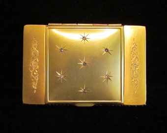 1930s Compact La Mode Gold Plated Compact Powder Compact Rouge Compact Mirror Compact Lipstick Compact Art Nouveau Excellent Condition