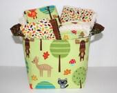 Woodland Friends Gender neutral baby gift basket, , Burp cloth set, Wash cloth set, bib and  fabric storage bucket.