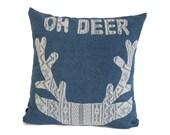 Denim pillow case with deer application
