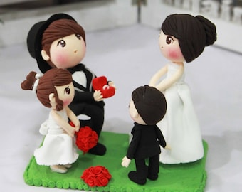 Wedding Cake topper Marry me with flower girl and bearer boy clay doll, Proposal clay miniature, clay figurine decoration, clay ring holder