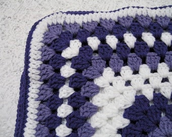 Purple Crocheted Rectangle Granny Square Lapghan Blanket