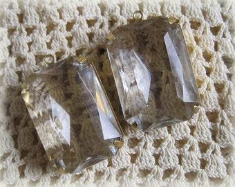 Large Rectangle Crystal Pendant Rhinestone 28MM 1R Brass Setting