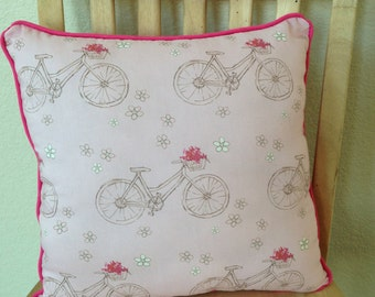 """Bicycle Pillow in Sepia Brown, Bright Pink and White on Pink Cotton - """"Pink Pedaling Pillow"""""""