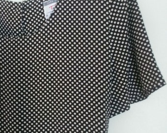 90's Talbot's Petites Drop Waist Black and White Polka Dot Dress Size 6