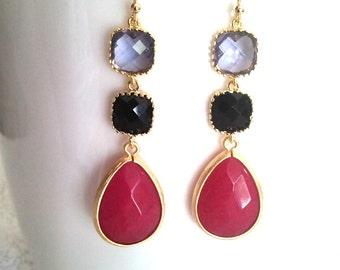 Black with Ruby Jade  Drop, Dangle, Earrings, bridesmaid gifts,Wedding jewelry, Gemstone, Valentine' Day
