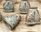 Floral Cone End Cap Bead Finding, Rustic, Patina, Mykonos Casting Beads (2) - M9
