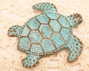Large Rustic Verdigris Patina Turtle Casting Pendant , Mykonos Casting Beads M37